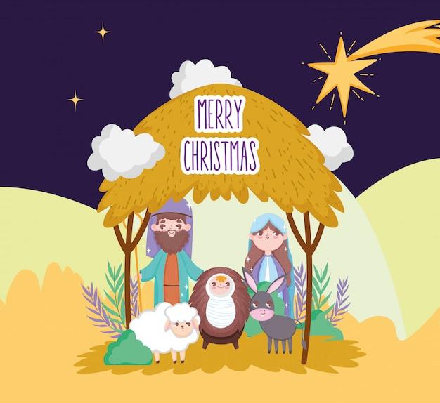 Sagrada família ovelhas e burro manjedoura natividade, feliz natal
