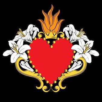 Sagrado coração de jesus. belo coração vermelho ornamental com lírios, coroa isolada