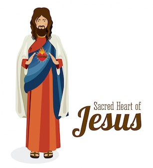 Sagrado coração de jesus, ilustração vetorial