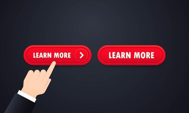 Saiba mais conjunto de botões de site da web. vetor em fundo branco isolado. eps 10.