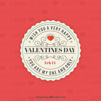 Saint valentine vintage bonito badge