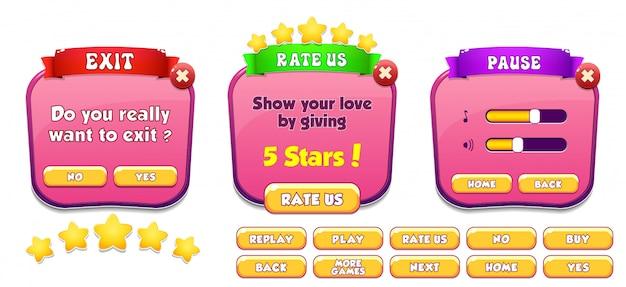 Sair, avalie-nos e pause a tela pop-up de menu com estrelas e botão
