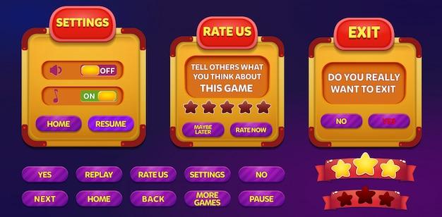 Sair, classifique-nos e tela pop-up menu configurações com estrelas e botão