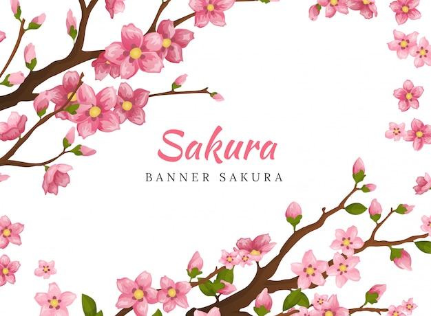 Sakura. banner de cartão ou cartão de convite com flores de flor de sakura. modelo de convite de casamento de ilustração de flores desabrochando.