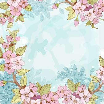 Sakura branch frame background