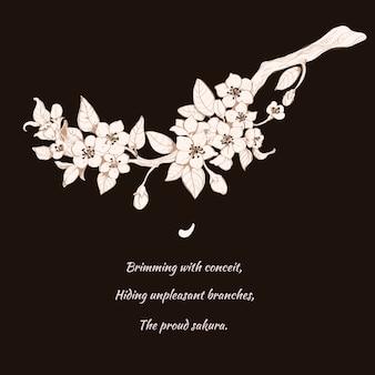Sakura cereja ilustração em preto