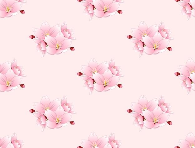 Sakura cherry blossom flower sem emenda no fundo rosa