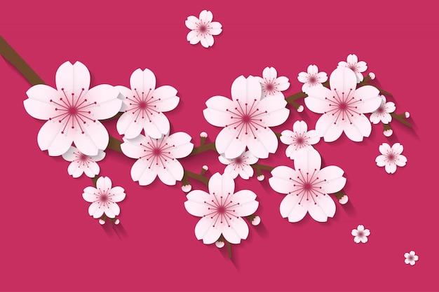 Sakura flor vetor de estilo de artesanato de papel vetor