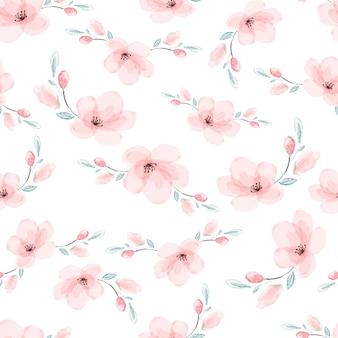Sakura rosa aquarela ou flor de cerejeira desabrocham sem costura padrão