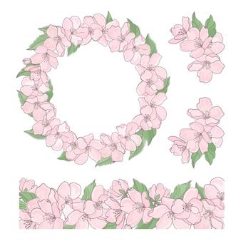 Sakura set coleção e grinalda decorativa floral