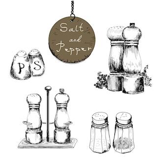 Sal e pimenta, conjunto de desenhos