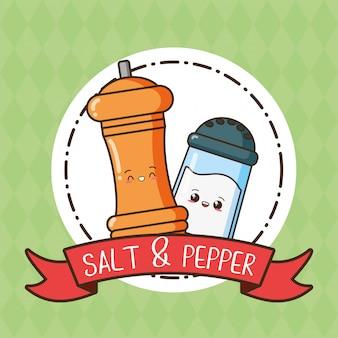 Sal e pimenta kawaii, ilustração