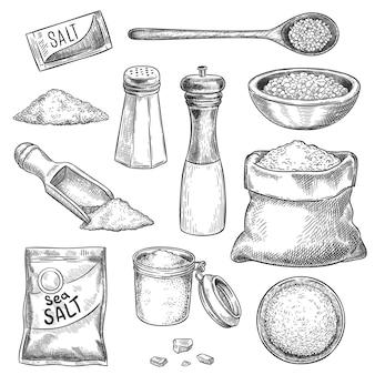 Sal marinho. esboce o moinho de mão vintage com especiarias e temperos. frasco gravado, colher e sacos com cristais de sal orgânico para cozinhar, conjunto de vetores. desenho de sal marinho, colher de cozinha para cozinhar ilustração