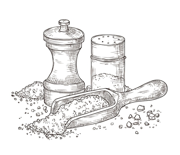 Sal marinho. esboce o tempero, gravando o shaker de pimenta e a colher com o pó. embalagem de vidro, ilustração vetorial de ingredientes de utensílios de cozinha de especiarias. tempere o sal e a pimenta para cozinhar, esboço do ingrediente
