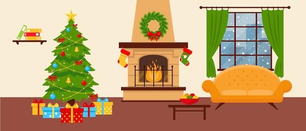 Sala aconchegante com lareira, sofá e árvore de natal decorada.