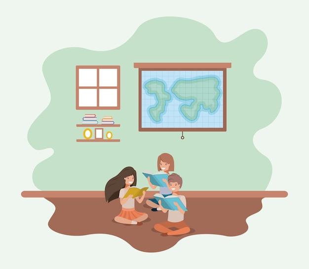 Sala aula, com, estudantes, sentando, leitura, livro
