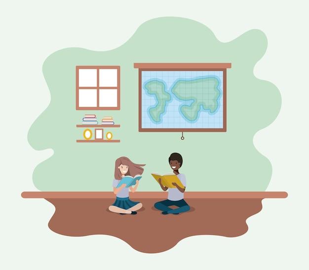 Sala aula, com, etnicidade, estudantes, sentando, livro leitura