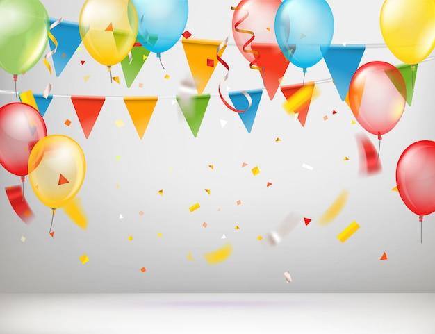 Sala branca com balões de cor e bandeiras