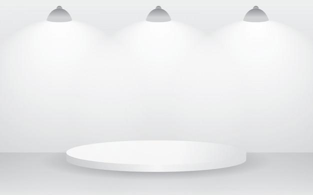 Sala branca vazia do estúdio para a exposição do produto satisfeito