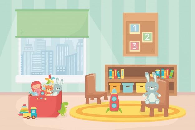 Sala brinquedos placa números prateleira caixa cadeira janela
