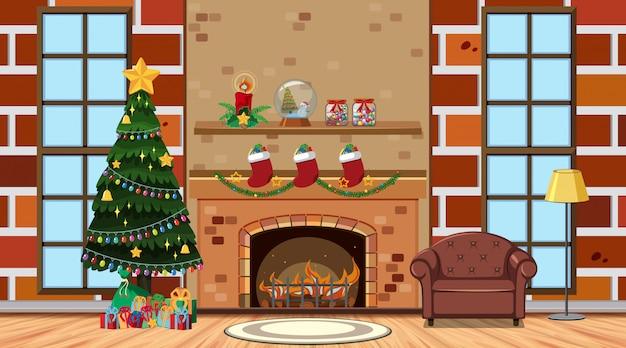 Sala com árvore de natal junto à lareira