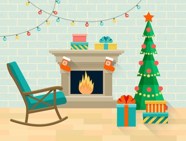Sala com cadeira de balanço, árvore de natal e lareira. ilustração em vetor plana