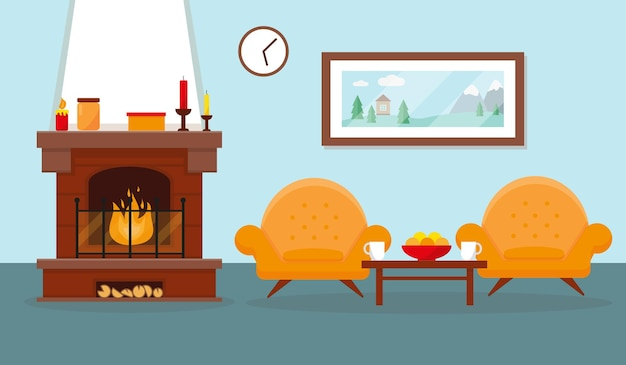 Sala com lareira e móveis para decoração de interiores Vetor Premium