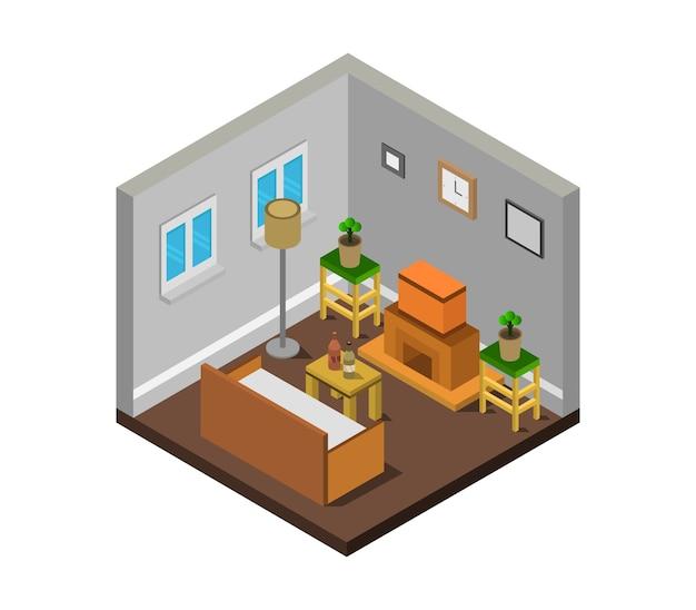 Sala com lareira isométrica