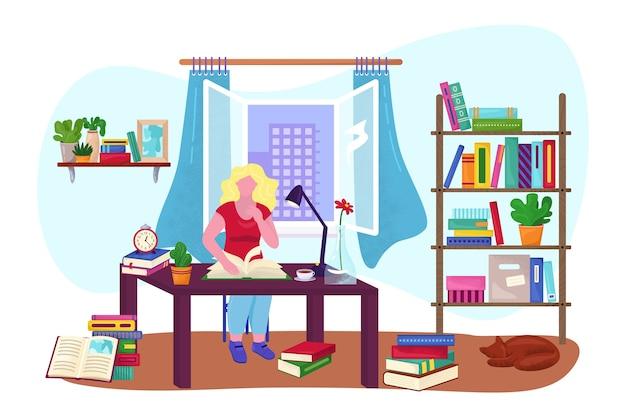 Sala com menina lendo livro na ilustração do quarto