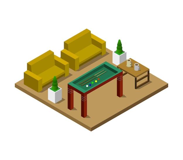 Sala com mesa de bilhar isométrica