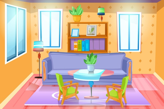 Sala com mobília. interior aconchegante com sofá na sala. apartamento