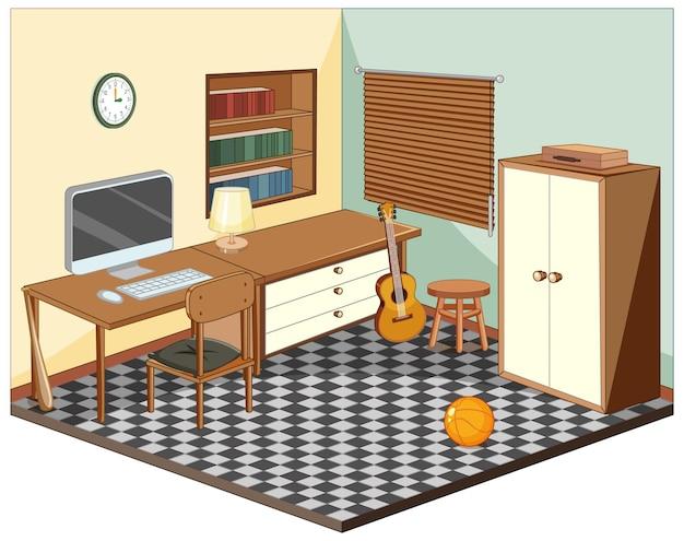 Sala com móveis isométricos