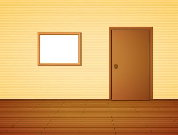 Sala com porta e moldura