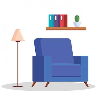 Sala com sofá, candeeiro e prateleira