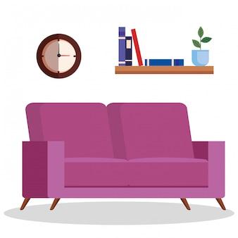 Sala com sofá, relógio e prateleira