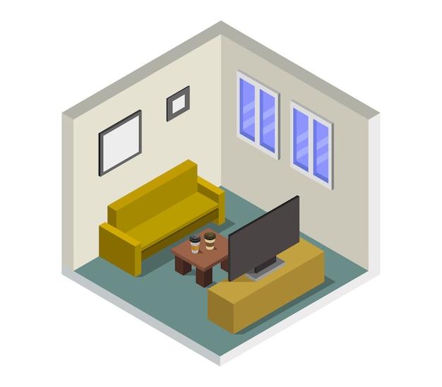 Sala com televisão isométrica