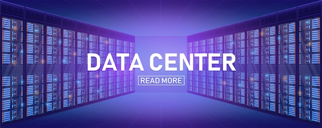 Sala da cremalheira do servidor, fundo grande do centro do banco dos dados.