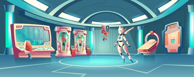 Sala de anabiose com robô médico e astronautas