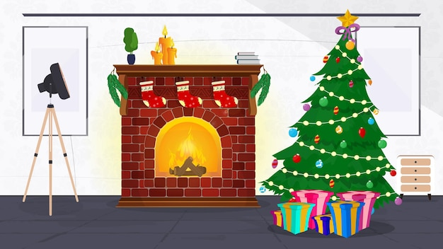 Sala de ano novo em estilo vintage. árvore de natal, presentes, lareira, poltrona, sala de estilo retro. vetor.