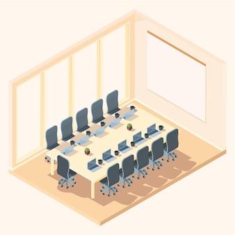 Sala de apresentação de escritório isométrica de desenho animado, ilustração vetorial