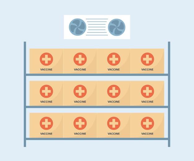 Sala de armazenamento da vacina do coronavírus com temperatura fria. armazém com vacinas covid