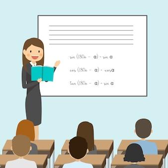 Sala de aula cheia de escola com professor e estudante de estudo
