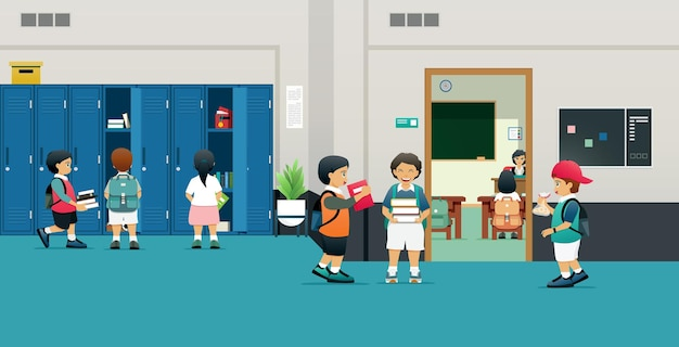 Sala de aula com armários, alunos e crianças tiram seus livros dos armários.