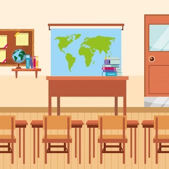 Sala de aula com desenhos animados de mesa e cadeiras de classe