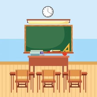 Sala de aula com desenhos de lousa