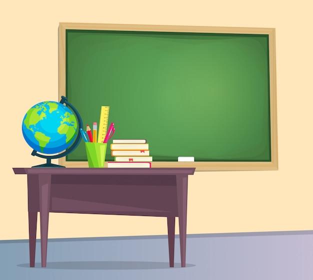 Sala de aula com lousa verde