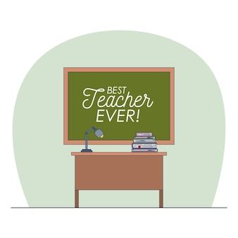 Sala de aula com quadro-negro com texto de melhor professor de todos os tempos