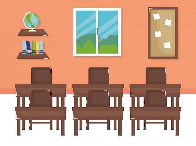 Sala de aula da escola com cena de schooldesks