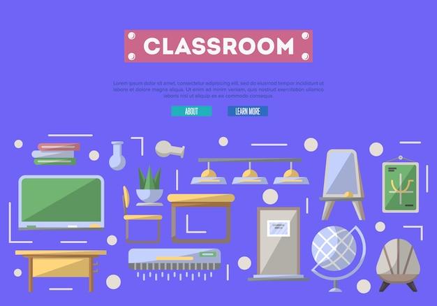 Sala de aula da escola em estilo simples