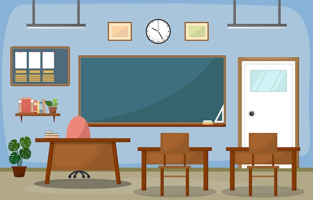 Sala de aula da escola interior quarto blackboard móveis flat